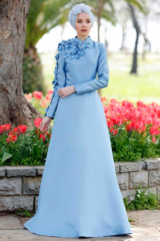 Minel Aşk Tesettür Mavi Abiye Elbise Modelleri