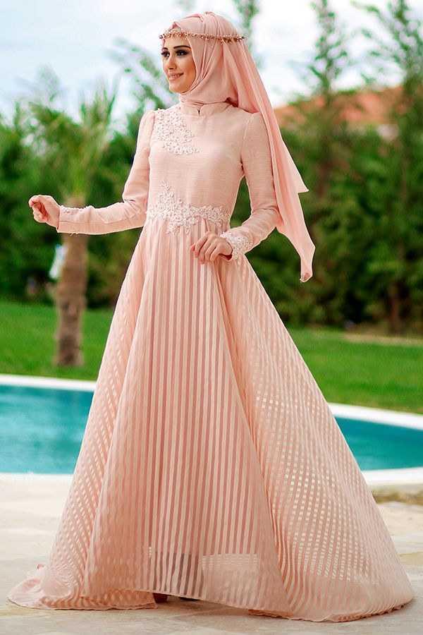 Minel Aşk Tesettür Pudra Love Abiye Elbise Modelleri