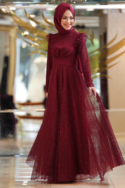 Minel Aşk Tesettür Simli Abiye Elbise Modelleri