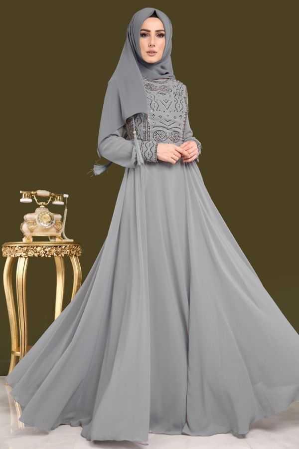 Moda Selvim Şık Tesettür Şifon Abiye Elbise Modelleri