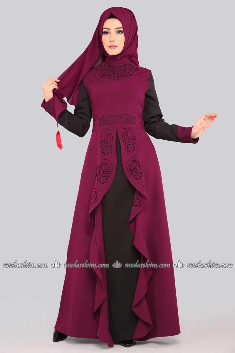 Moda Selvim Lazer Kesim Şık Tesettür Abiye Modelleri