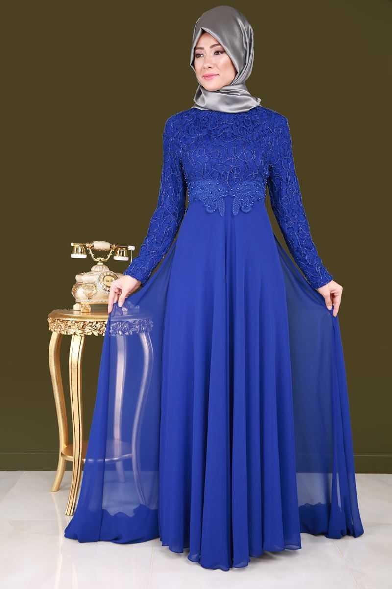 Moda Selvim Tesettür Şifon Abiye Elbise Modelleri
