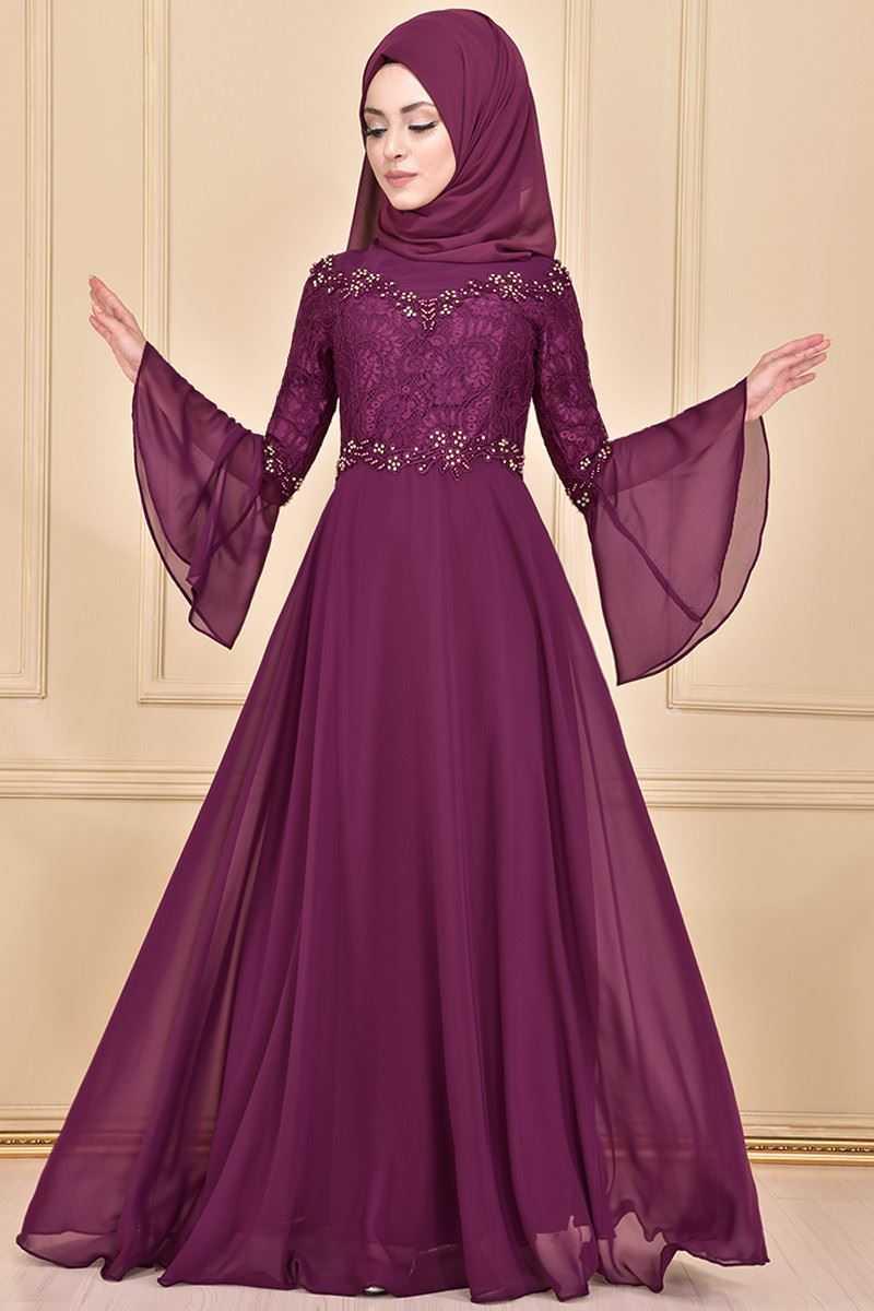 Modamerve Tesettür Şifon Abiye Elbise Modelleri