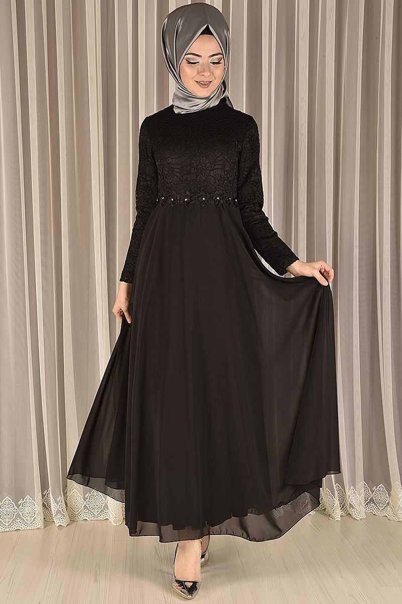 Modamerve Tesettür Dantelli Şifon Abiye Elbise Modelleri