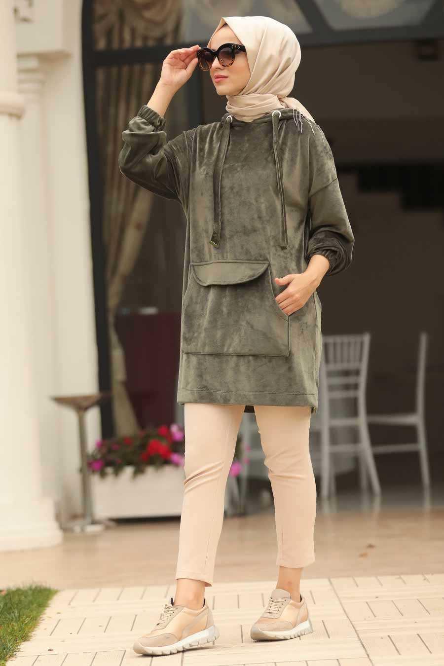 Neva Style Tesettür Cepli Kadife Tunik Modelleri