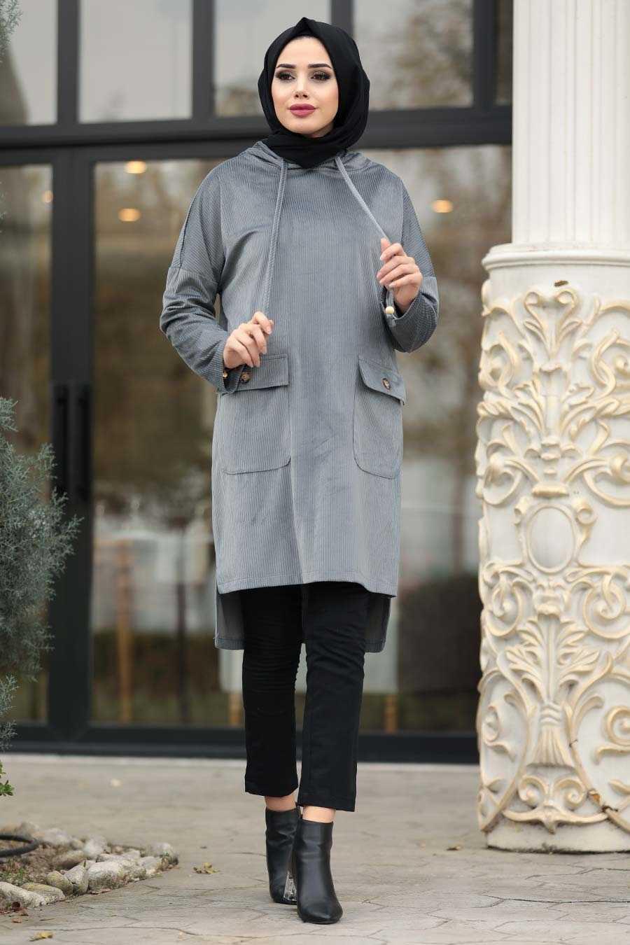 Neva Style Tesettür Kadife Tunik Modelleri
