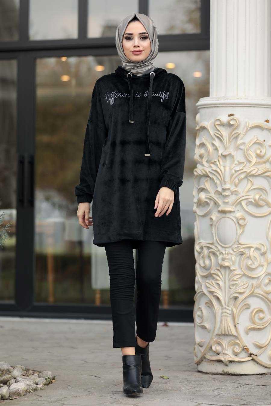 Neva Style Tesettür Kapüşonlu Kadife Tunik Modelleri