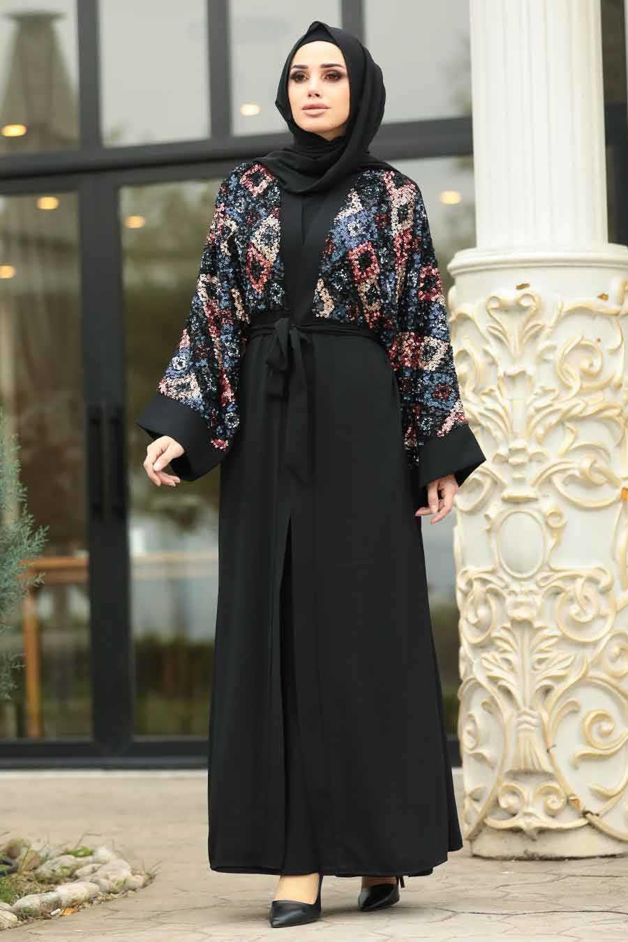 Neva Style Tesettür Renkli Pullu Abaya Modelleri