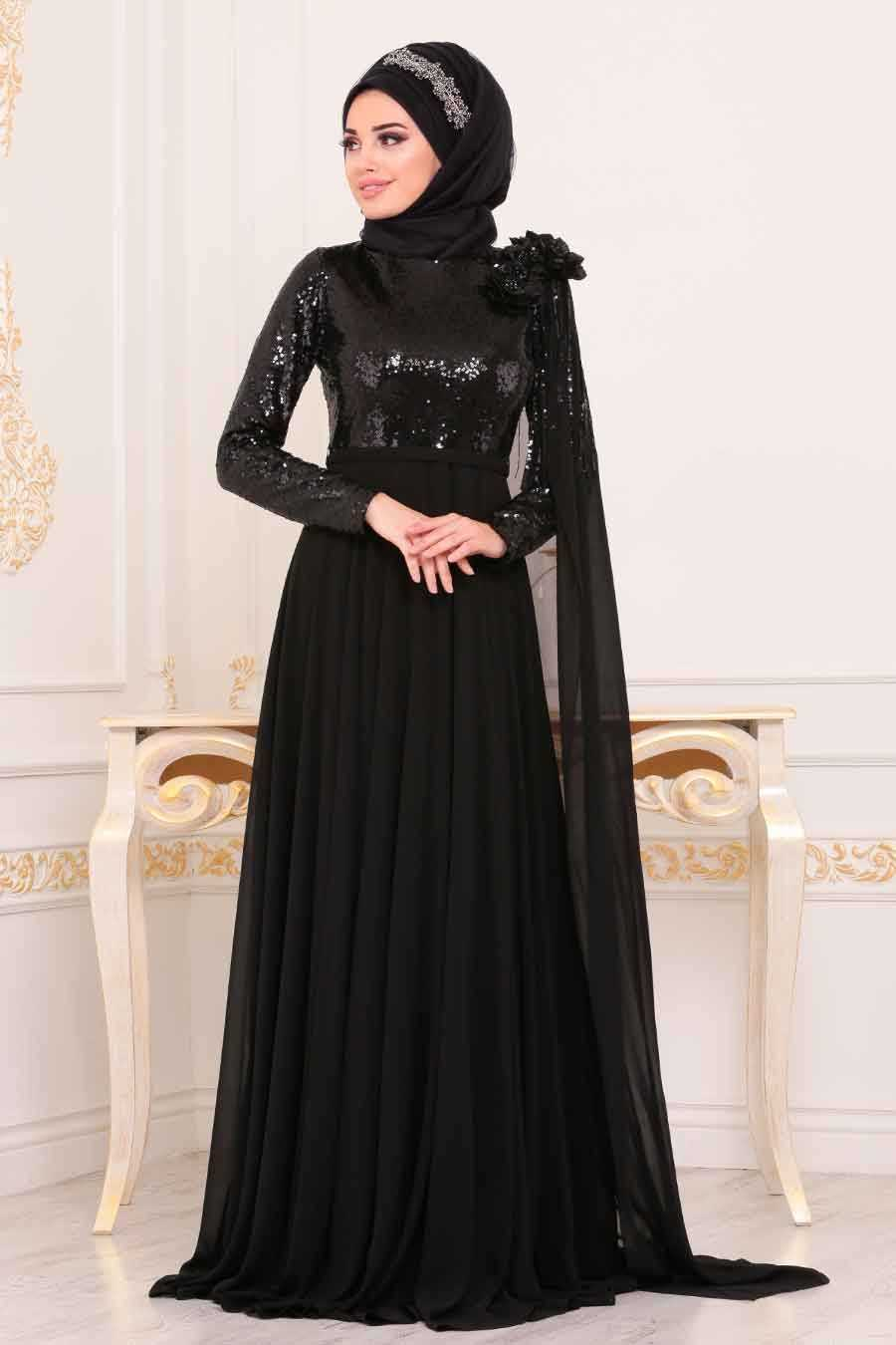 Neva Style Tesettür Siyah Renk Abiye Elbise Modası