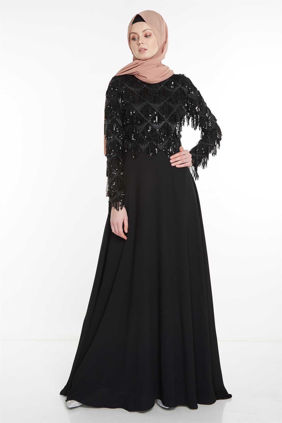Nihan Pullu Tesettür Siyah Abiye Elbise Modelleri