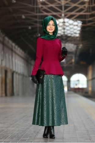 Pınar Şems Tesettür Jakarlı Etek Modelleri