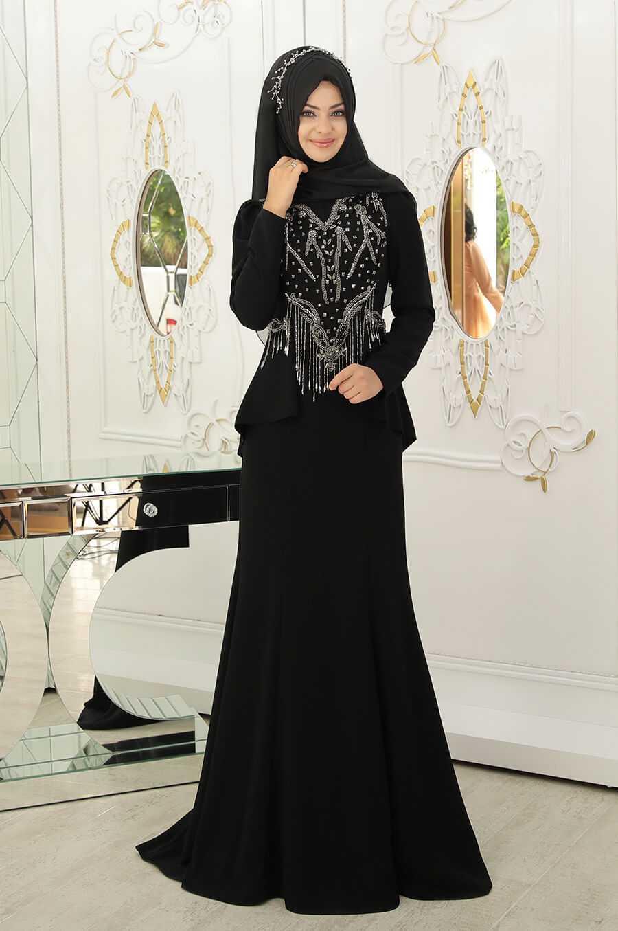 Pınar Şems Tesettür Siyah Renk Abiye Modası