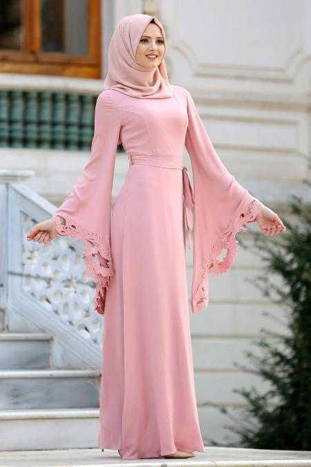 Lazer Kesim Tesettür Abiye Elbise Modelleri