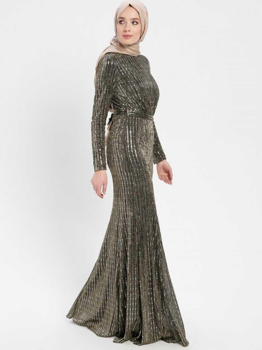 Robir Pullu Tesettür Abiye Elbise Modelleri