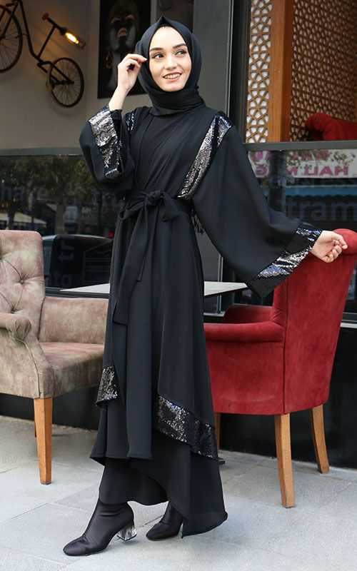 Sahranur Tesettür Pullu Abaya Modelleri