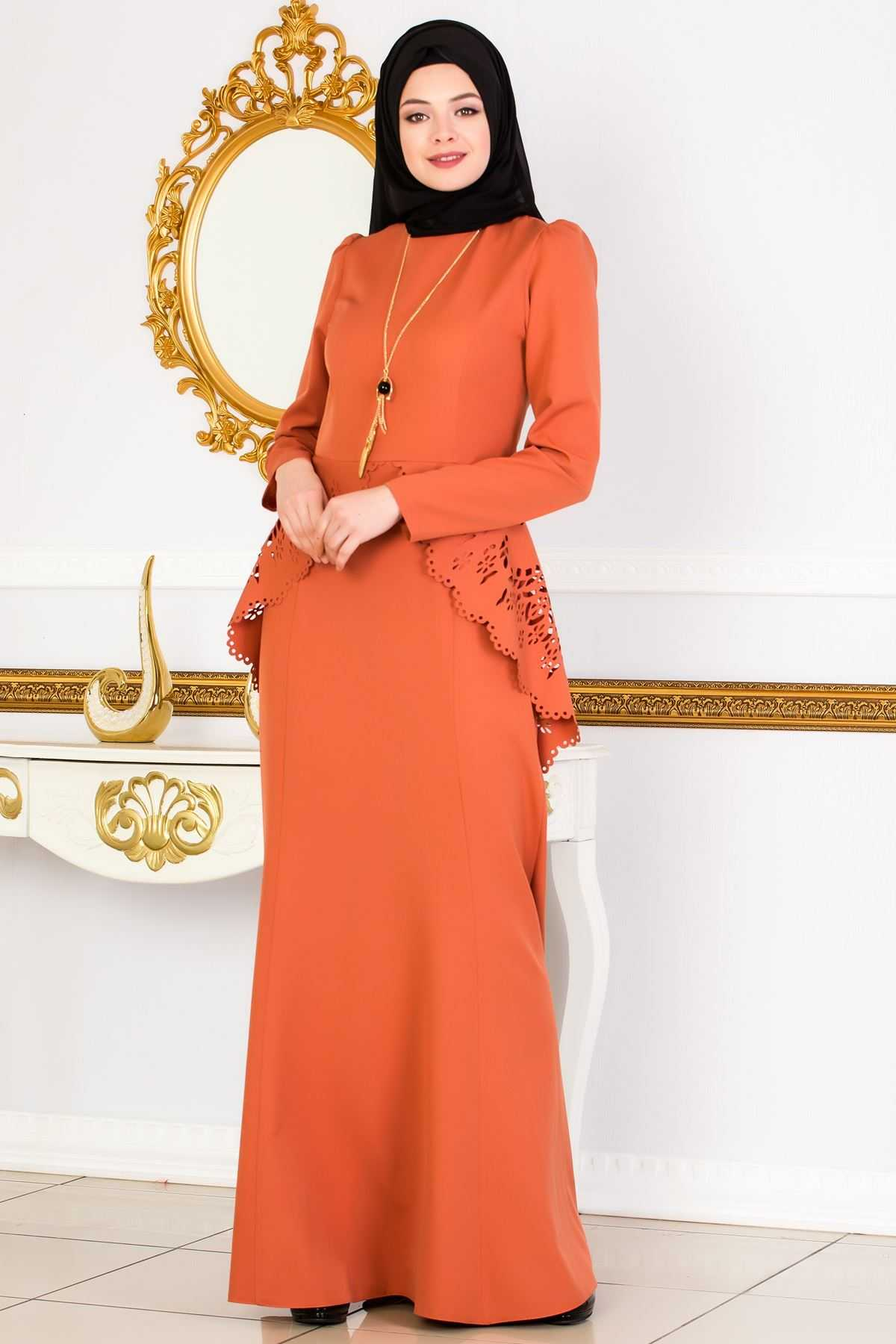 Sedanur Beli Lazer Kesim Tesettür Abiye Elbise Modelleri