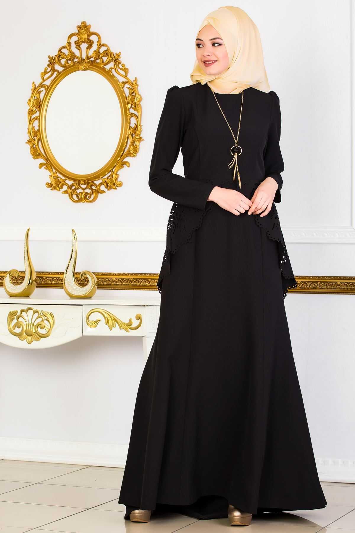 Sedanur Lazer Kesim Tesettür Abiye Elbise Modelleri