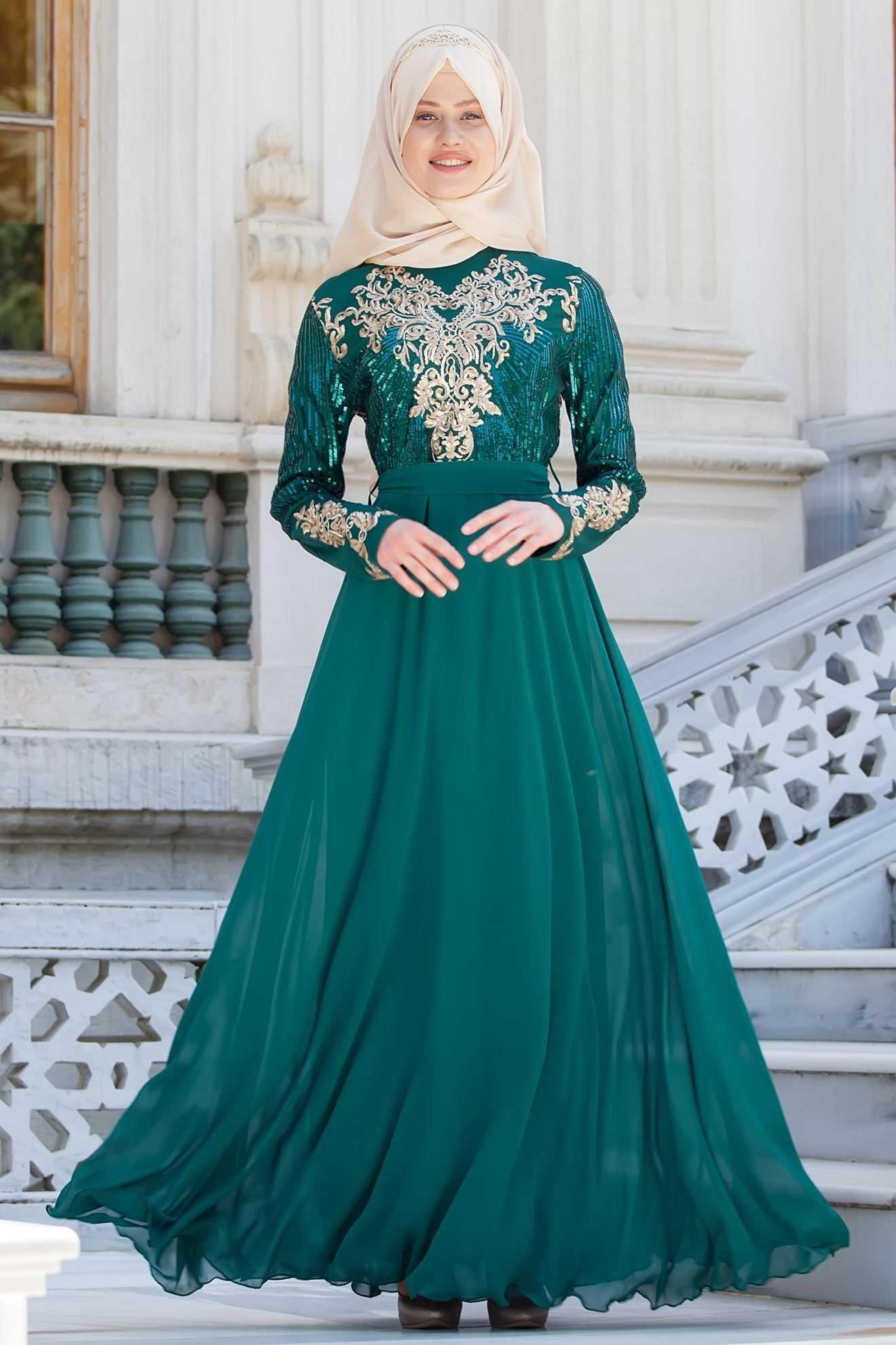Sedanur Tesettür Şifon Abiye Elbise Modelleri