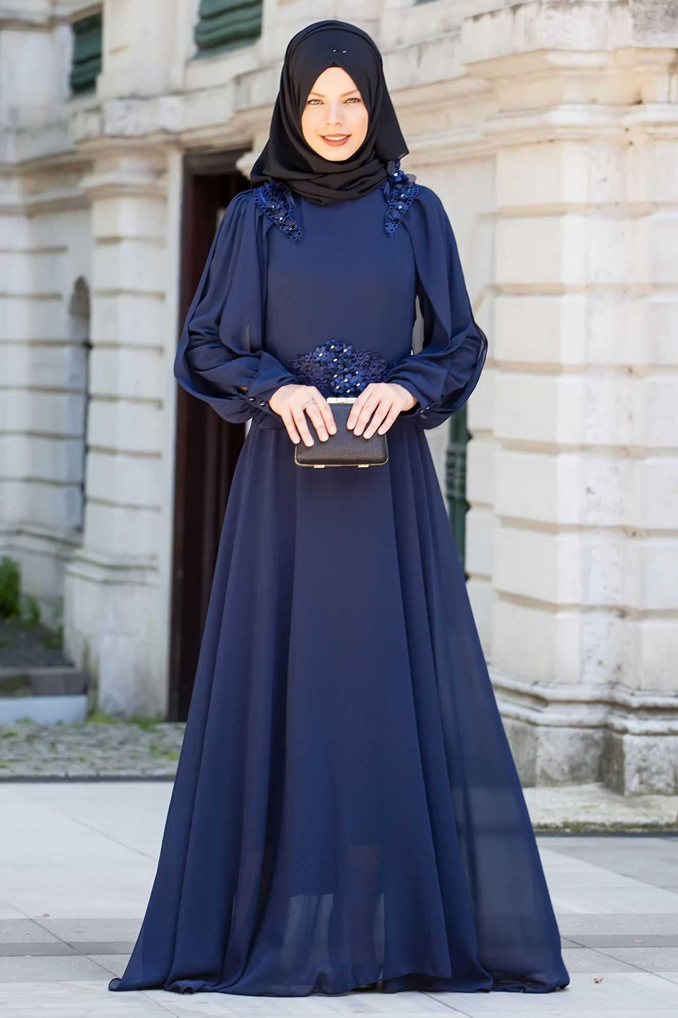 Sedanur Tesettür Dantelli Şifon Abiye Elbise Modelleri