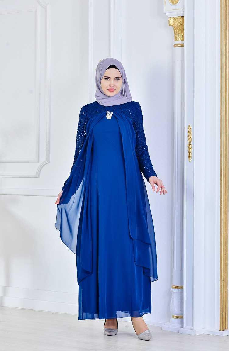 Sefamerve Broş Detaylı Tesettür Şifon Abiye Elbise Modelleri
