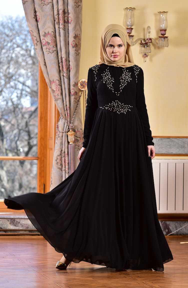 Sefamerve Tesettür Güpürlü Şifon Abiye Elbise Modelleri