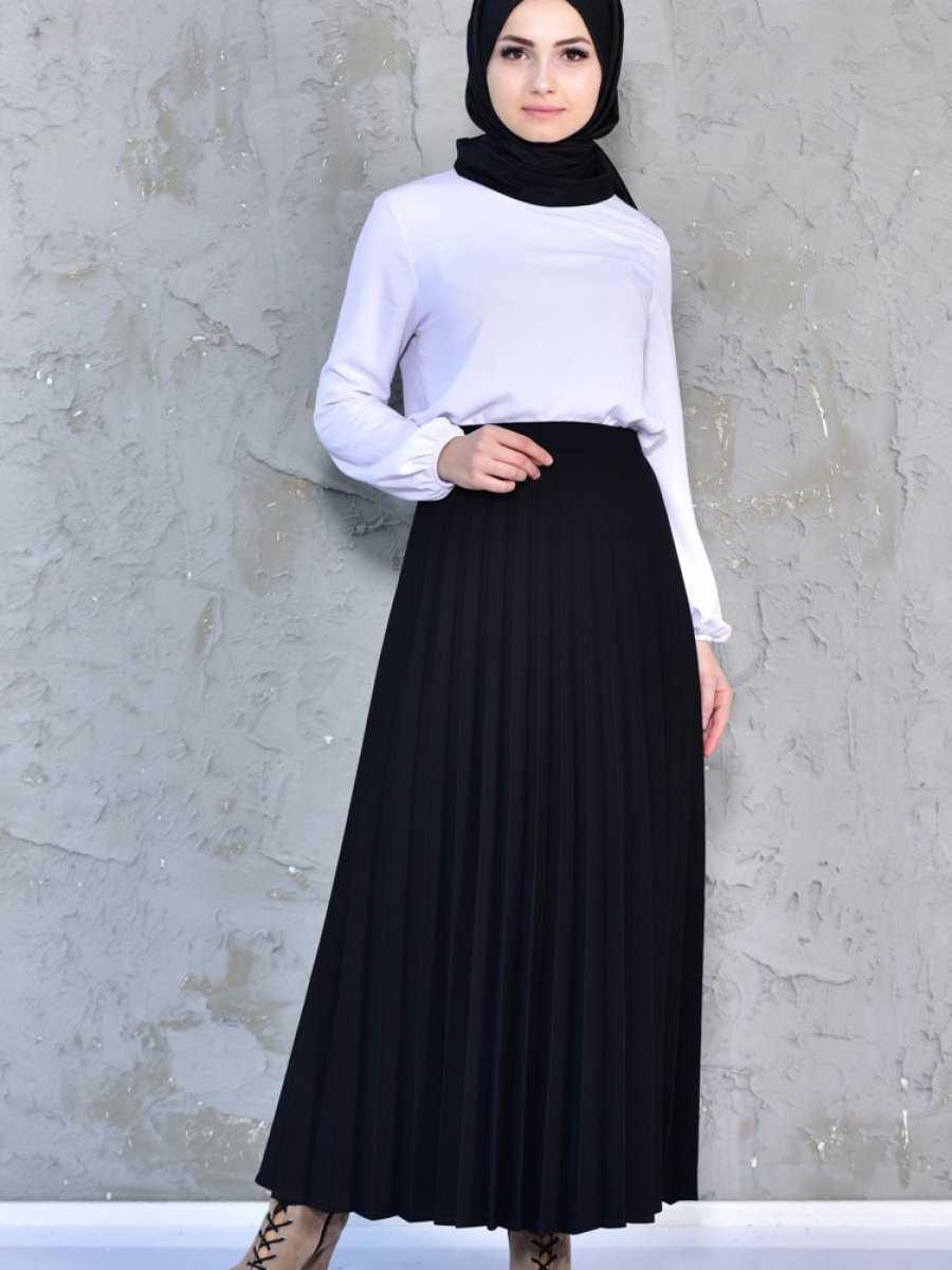 Sefamerve Tesettür Siyah Renk Etek Modası