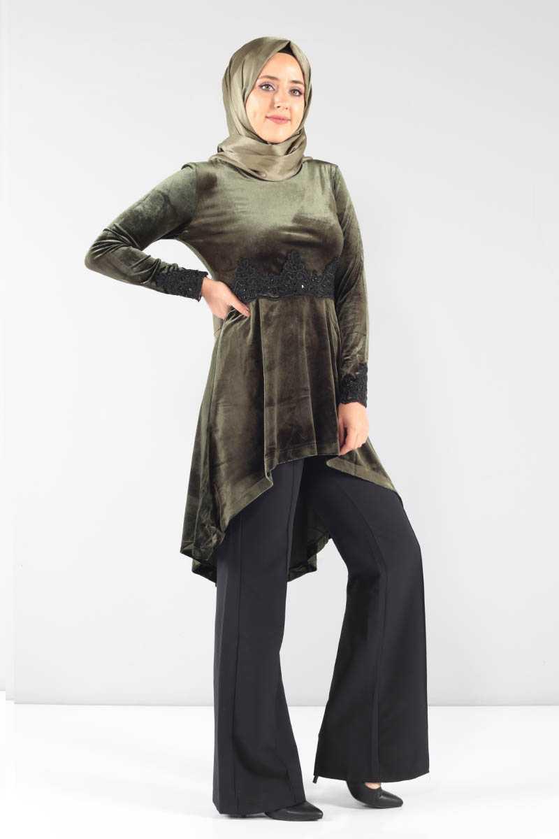 Tesettür Dünyası Güpürlü Kadife Tunik Modelleri