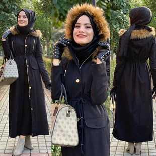 Tesettür Siyah Renk Dış Giyim Modası