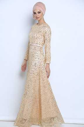 Tozlu Pullu Tesettür Abiye Elbise Modelleri