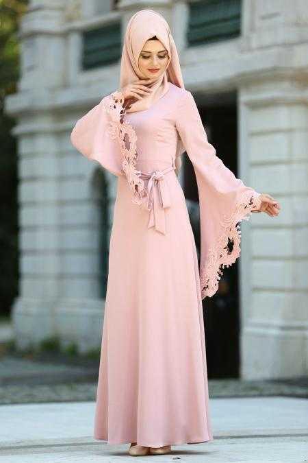 Tuay Kolları Lazer Kesim Tesettür Abiye Elbise Modelleri