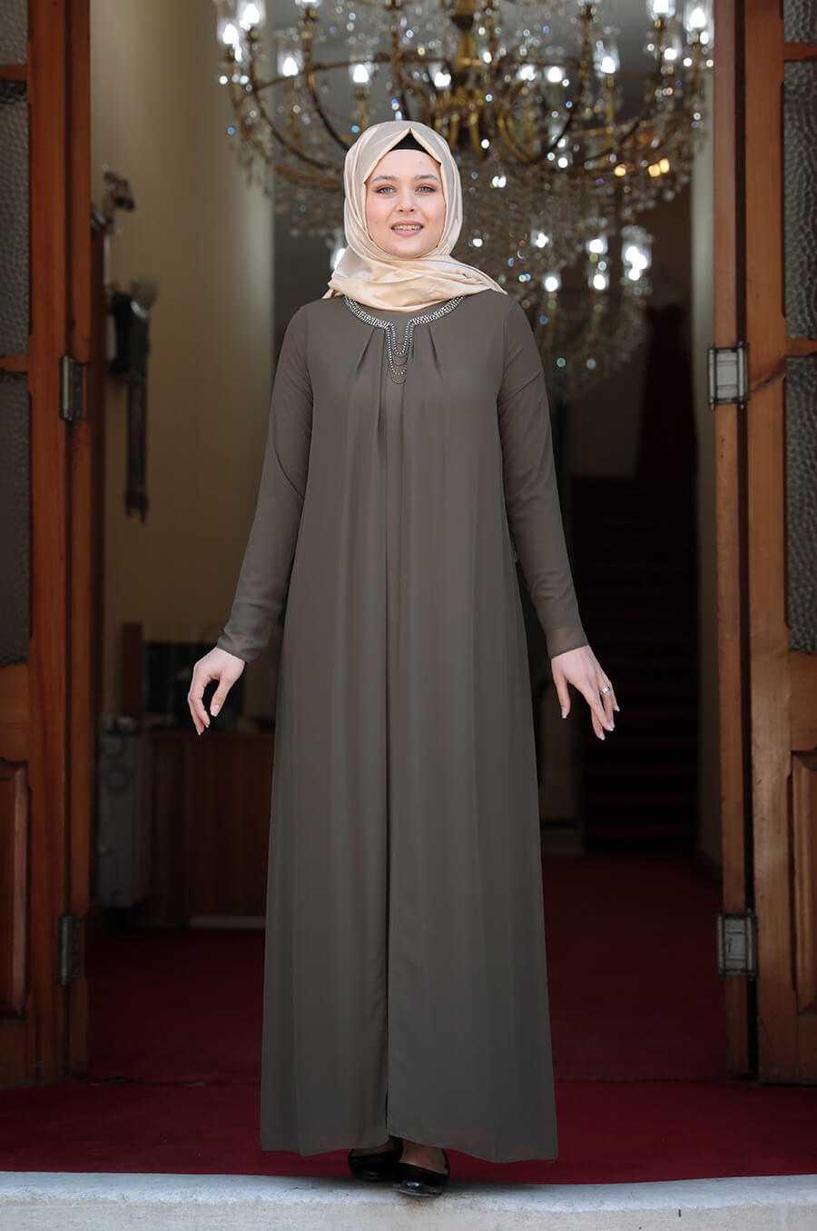 Amine Hüma Büyük Beden Tesettür Elbise Modelleri