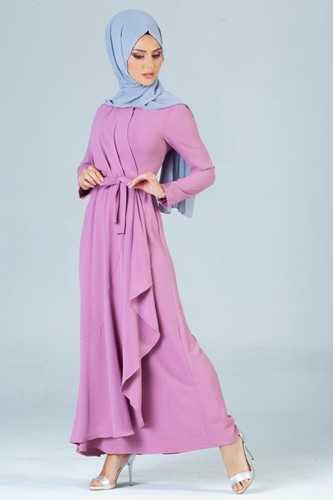 Burcu Tesettür Verev Kesim Elbise Modelleri