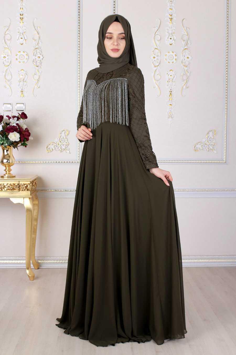 Feiza Collection Tesettür Boncuklu Abiye Elbise Modelleri