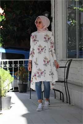 Melike Tatar Çiçekli Tesettür Tunik Gömlek Modelleri