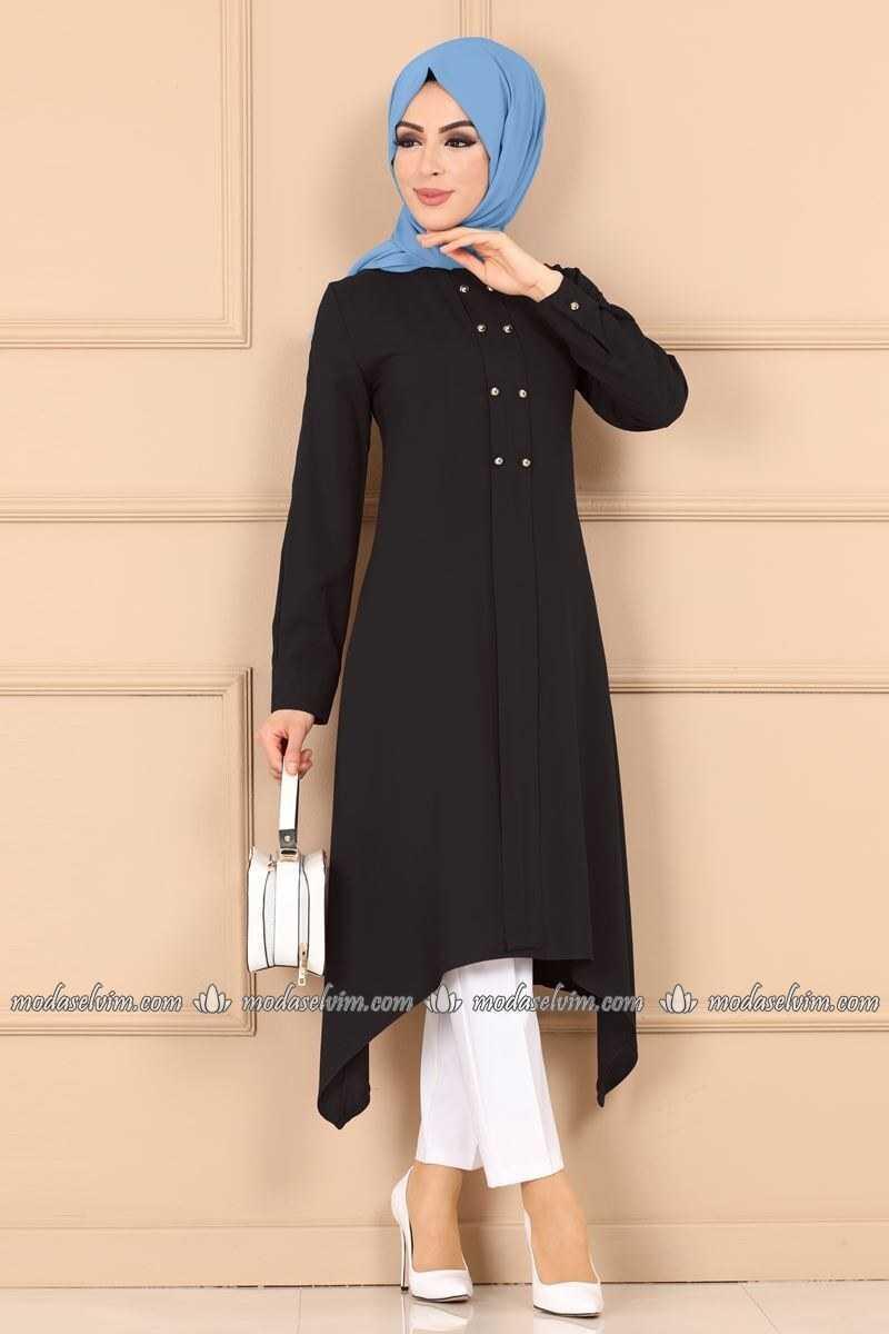 Moda Selvim Tesettür Verev Kesim Tunik Modelleri