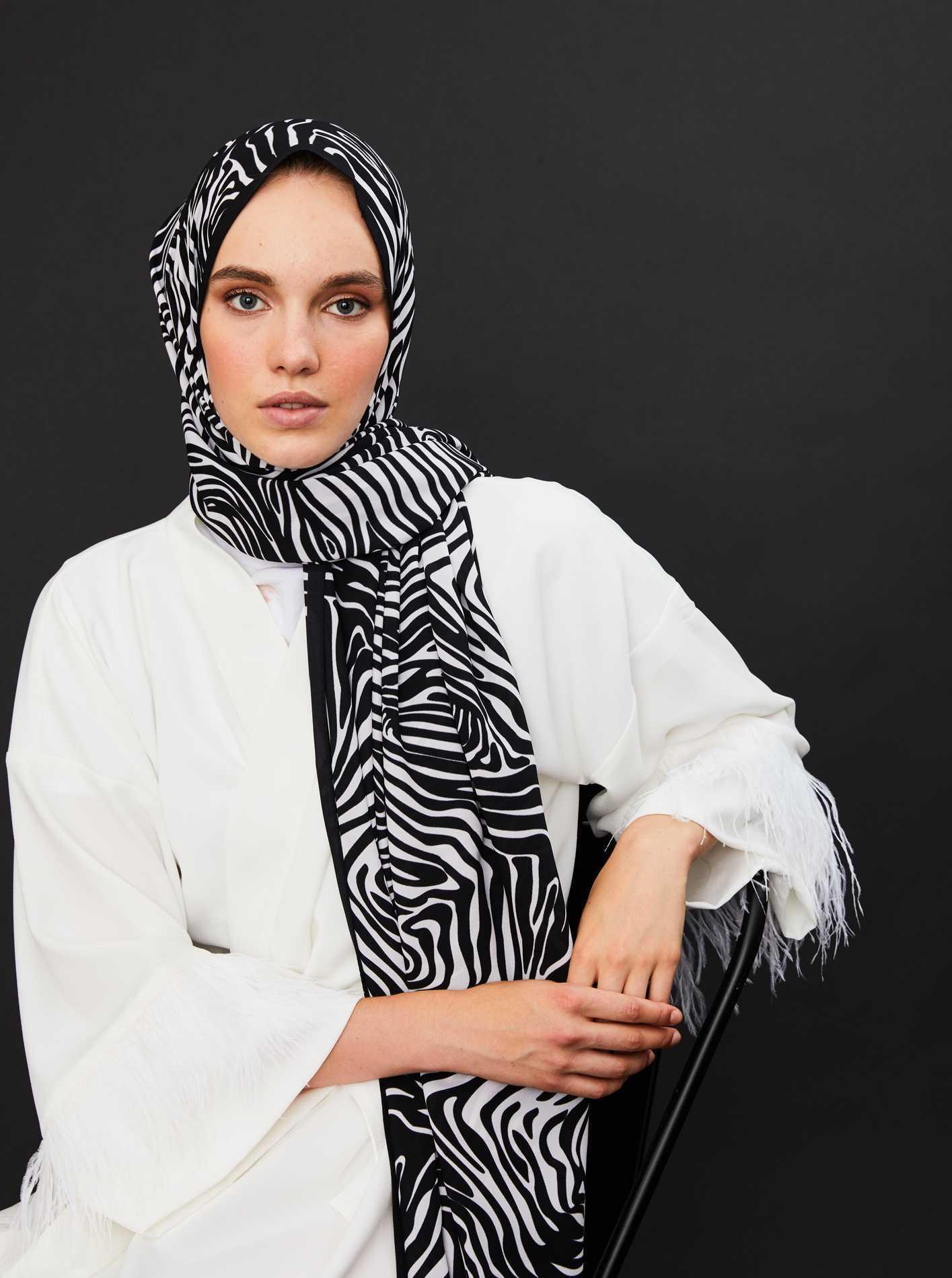 Modakaşmir Zebra Desenli Şal Modelleri