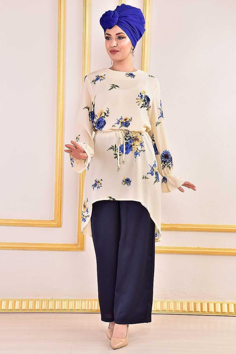 Modamerve Çiçek Desenli Tesettür Tunik Modelleri
