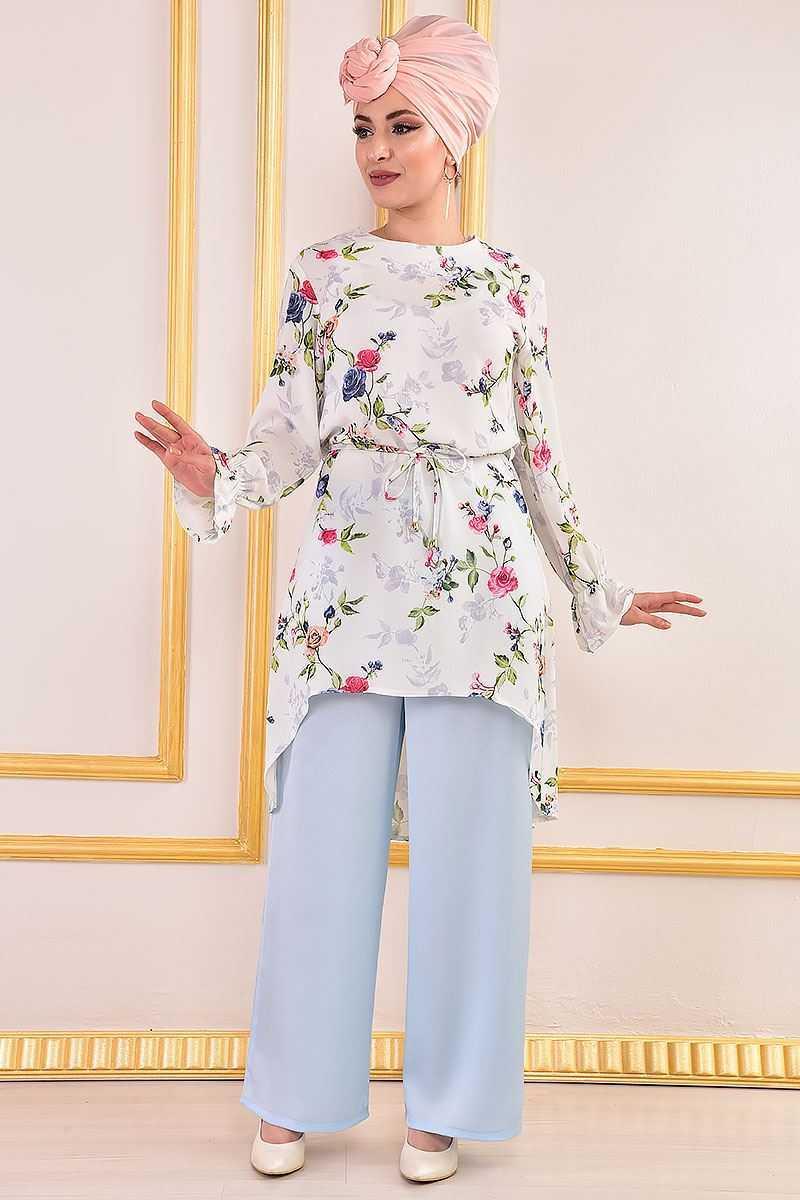 Modamerve Çiçekli Tesettür Tunik Modelleri