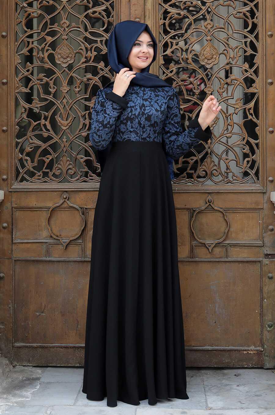 Pınar Şems Tesettür Desenli Krep Elbise Modelleri