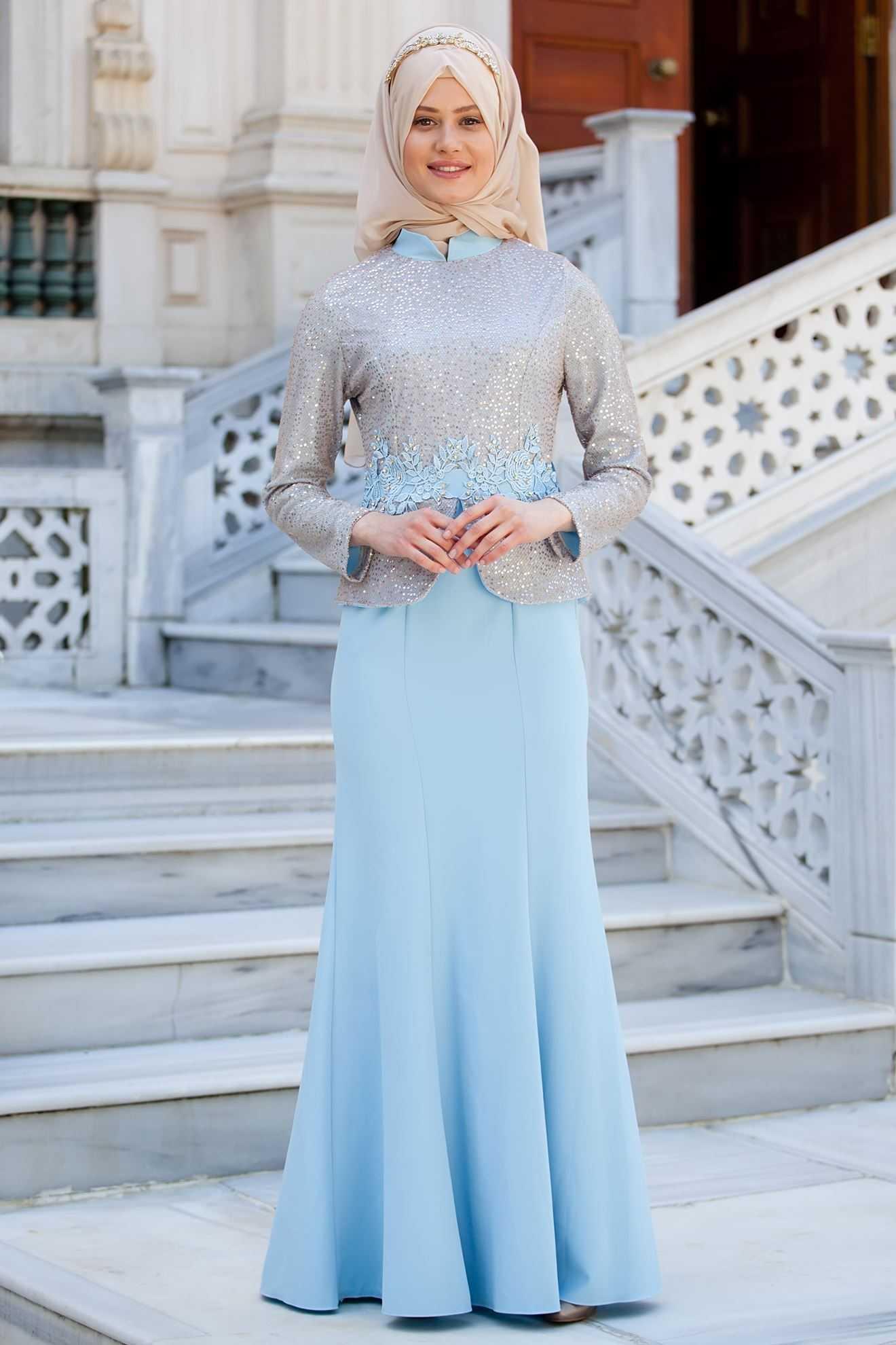 Sedanur Tesettür Krep Abiye Elbise Modelleri