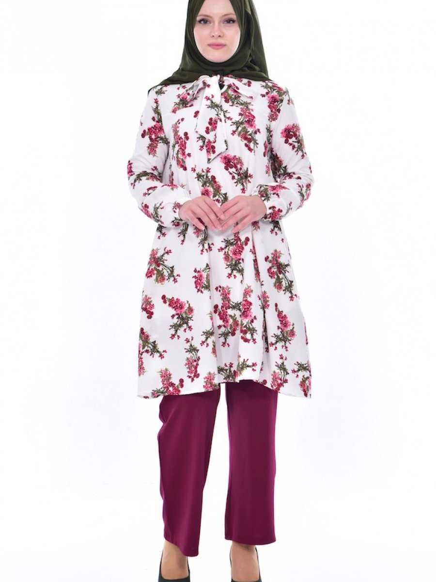 Sefamerve Çiçek Desenli Tesettür Tunik Modelleri