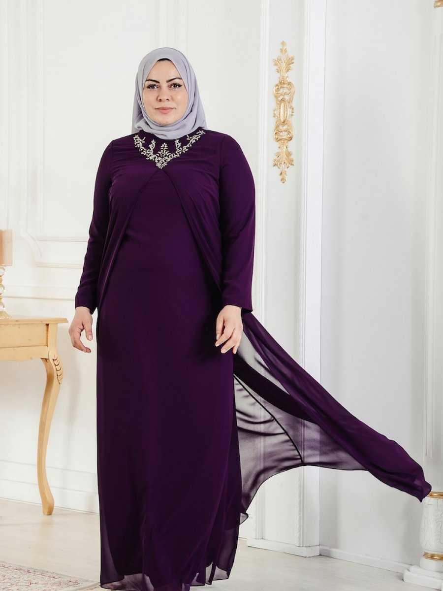 Sefamerve Büyük Beden Tesettür Abiye Elbise Modelleri