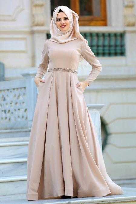 Tuay Tesettür Beli Boncuklu Abiye Elbise Modelleri