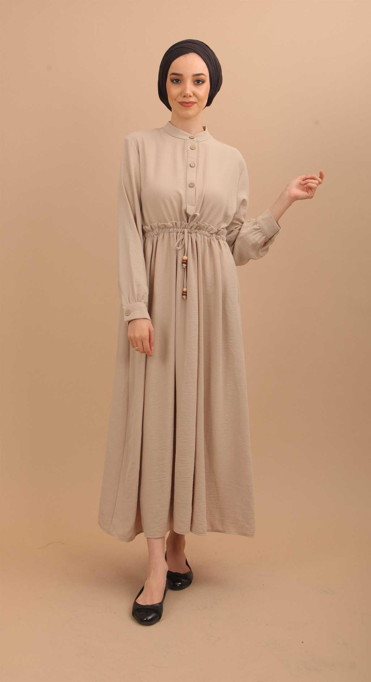 Şevval Giyim Düğmeli Tesettür Elbise Modelleri