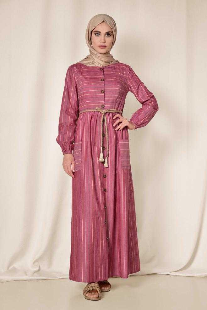 Alvina Düğmeli Tesettür Elbise Modelleri