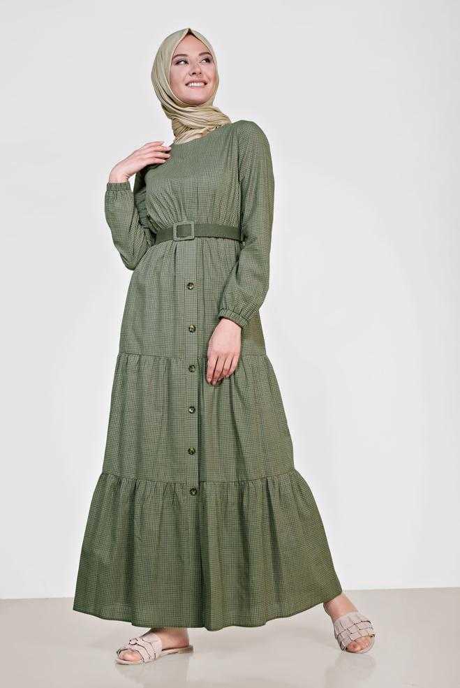 Alvina Düğmeli Tesettür Yeşil Elbise Modelleri