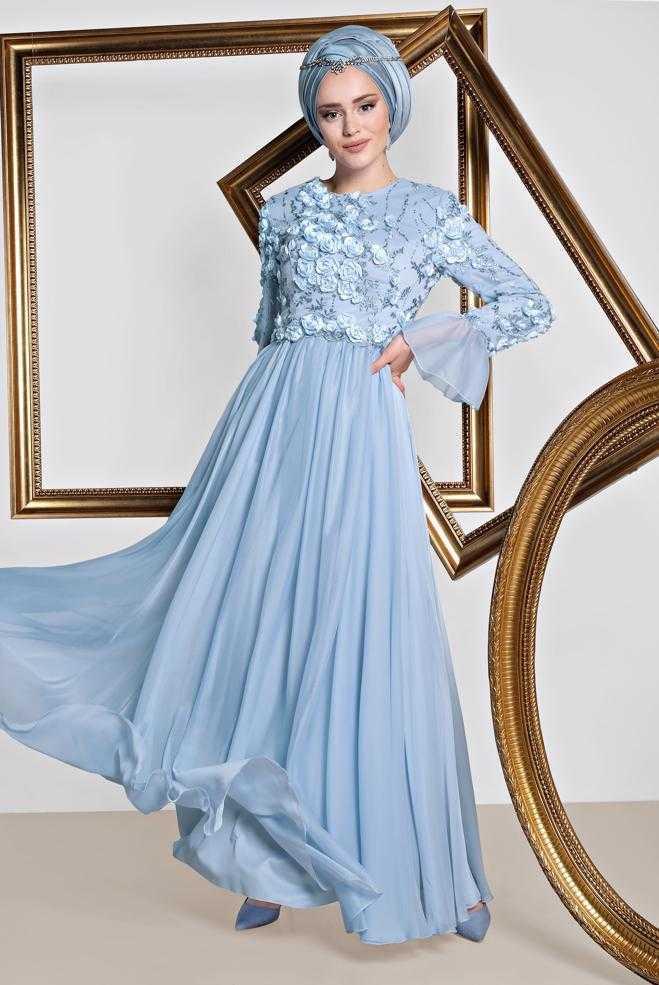 Alvina Tesettür Çiçekli Abiye Elbise Modelleri
