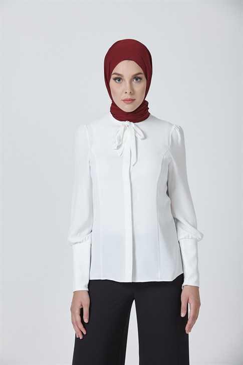 Armine Günlük Tesettür Beyaz Gömlek Modelleri
