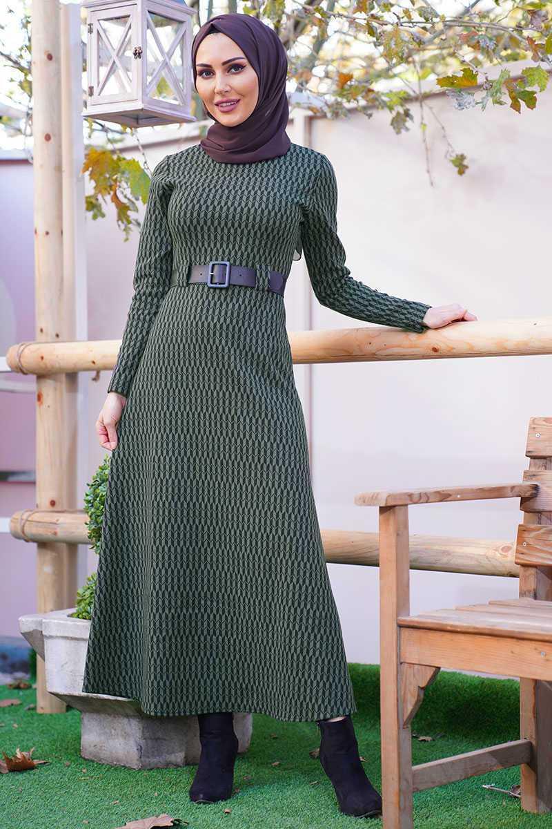 Asilmoda Geometrik Desenli Tesettür Elbise Modelleri