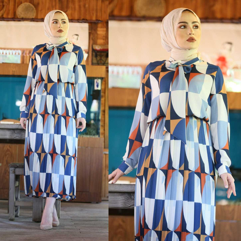 Elifcebutik Geometrik Desenli Tesettür Elbise Modelleri